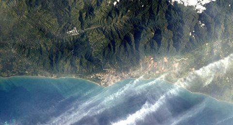 Atlantida, corazon del Caribe Centroamericano vista desde la estacion espacial internacional